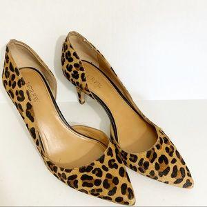 J Crew Calf Hair Cheetah Print Heels size 8.5